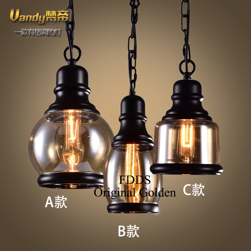 American Country Retro Iron Pendant Lamp Creative Glass Shade Hemp Hope Art Loft Light Bar Light Dining Light Free Shipping