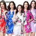 RB006 Quimono de Seda Roupão Roupão de Banho Das Mulheres Robe De Cetim Robes De Seda Para As Mulheres Noite Sexy Robes Noite Crescer Para Dama De Honra de Verão