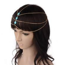Bohemian Gold Color Forehead Dance Head Chain Women Blue Stone Headband Hair Accessories Jewelry Party Headpiece HairBand(China)