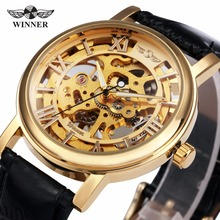 NEW Winner Men Watch Mechanical Hand-wind Fashion Casual Leather Strap Analog Brand Business Wristwatch Silver Gold Color MW074M