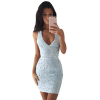Europe And America Summer Deep V Neck Lace Sexy Runway High Quality Women S Dress KLY1460