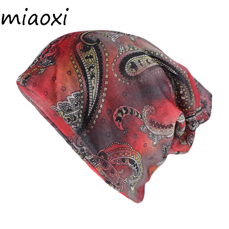 Miaoxi Hip Hop Women Floral Beanies Skullies Adult Lady Dance Hats Caps Double Used Casual Gorros Warm Soft Hats TD-019