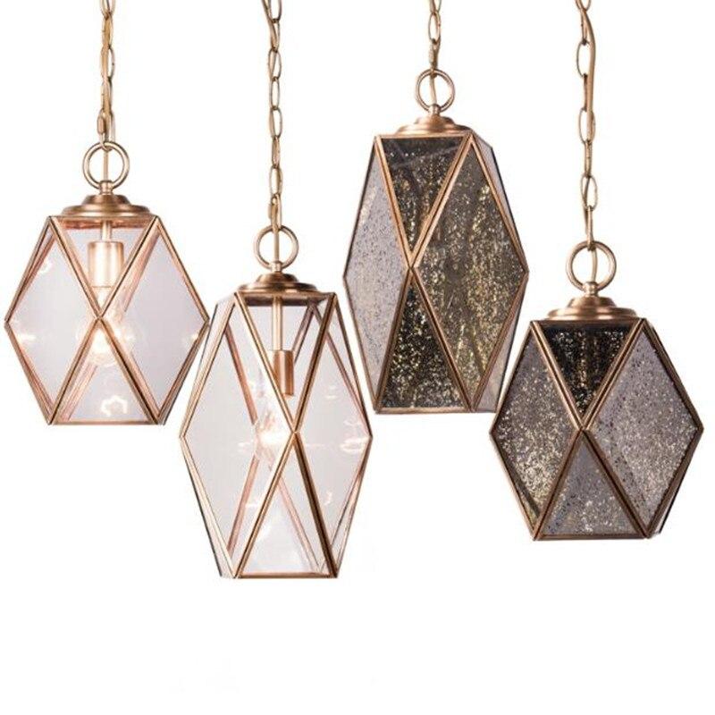 American Retro Glass Full Copper Single Head Chandelier Dining Room Bedroom Balcony Corridor Aisle Crown Lamp
