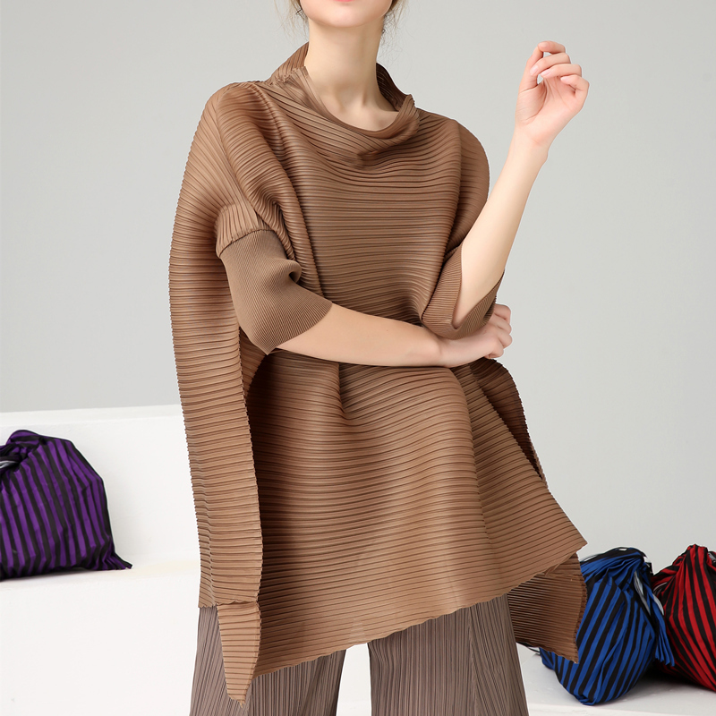 LANMREM High Qualty Pleated Clothes For Women Half Turtleneck 2019 Summer Fashion New Batwing Sleeve Large
