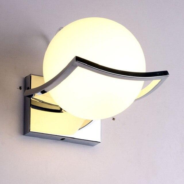 Milky Ball Led Wall Lamp Modern Gl Light For Kitchen Bedroom Living Room E27 Luminaire Lique Mura