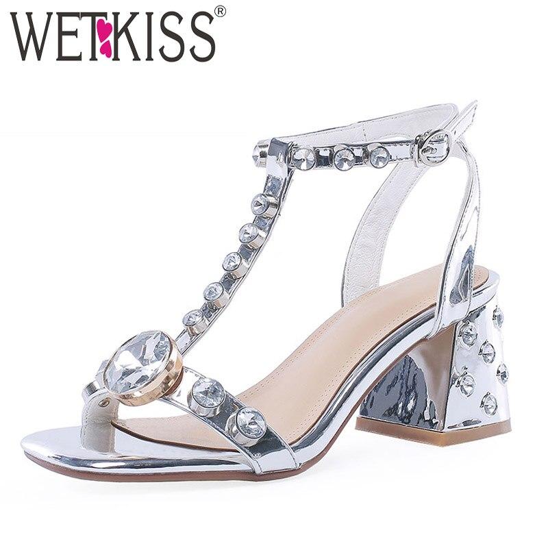 WETKISS Crystal Heels High Sandals Woman Summer Sandals Women 2019 T Strap Wedding Shoes Female Cow