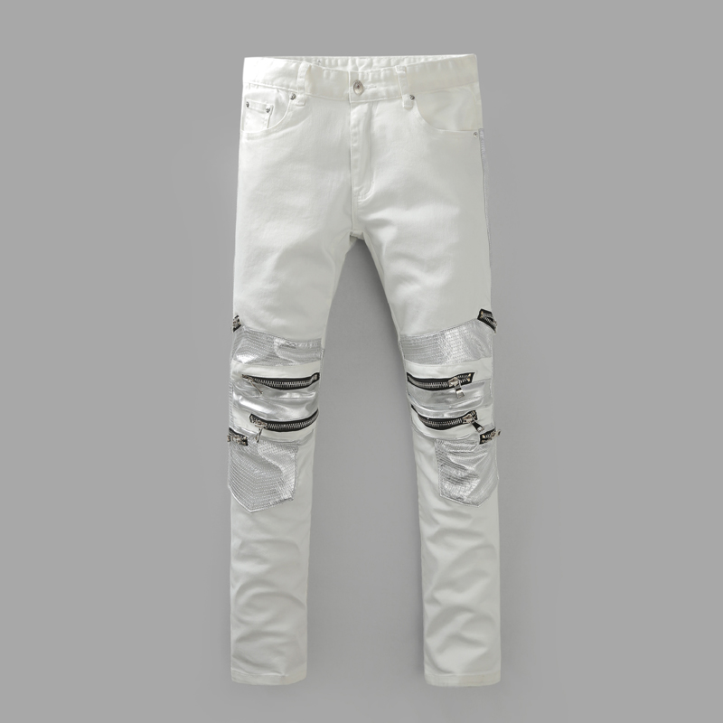 Men Famous white jean Vintage pants Designer Casual Hole Ripped Jeans Mens  Fashion Skinny Denim Pants Silm Fit Male Trousers