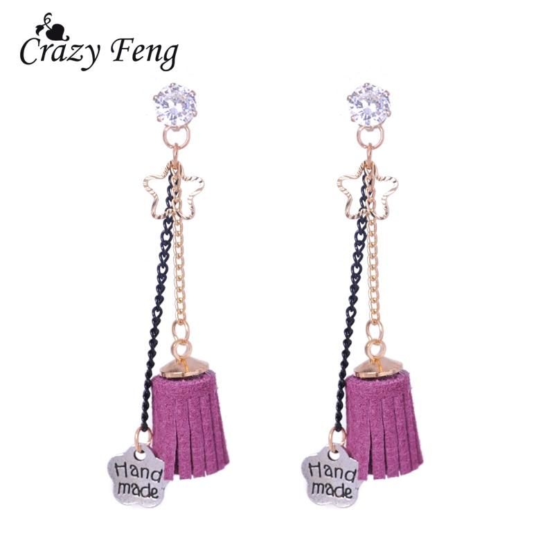 Sweet Jewelry Bohemia Style Gold Color Drop Earrings Handmade Tassel Dangle Earrings Jewelry Accessories Clear Crystal Double Chain Earrings