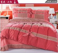 Leopard pink bed linen cotton juego de cama sabanas velvet thick 4 pcs flannel bedding set winter