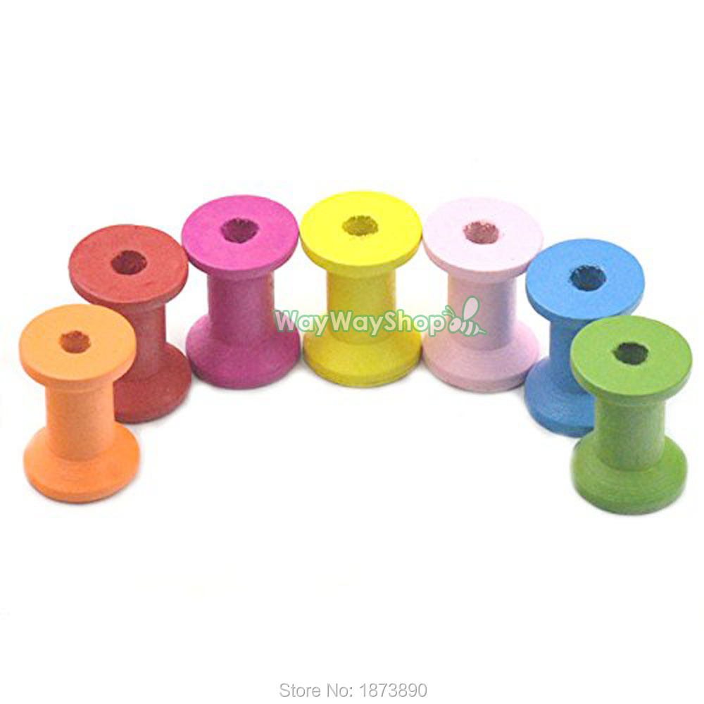 20Pcs couleur naturelle bois vide Fil Bobines en Bois de couture Bobines Cylindre