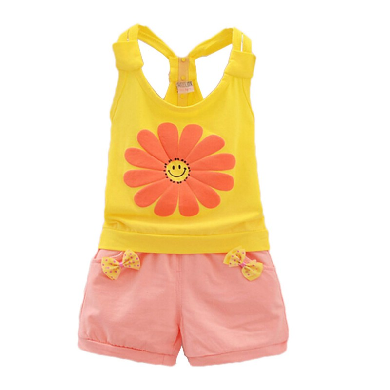 Baby Girls Cute Sunflower Pattern O-neck Vest T-shirts+Pants Cotton Sleeveless Kids Clothes Summer girls boutique clothing halloween costume black pullover shirts zebra pattern ruffle pants cotton outfits baby clothes h006