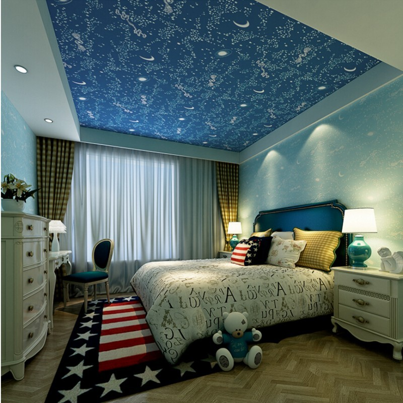 Beibehang ceiling children s Boy girl wallpaper bedroom wallpaper baby Galaxy moon stars wall paper