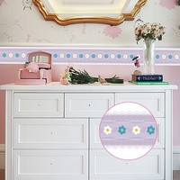 Creative Self Adhesive Baseboard LivingRoom Bathroom Blue White Flowers Side-by-side Pattern Waistline Wall Stickers YX017