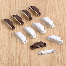 5Pcs Small Magnetic Door Catches Kitchen Cupboard Wardrobe Cabinet Latch Catch Screw White Brown Hardware 27x10mm