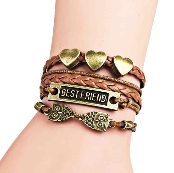 vintage fashion Brown owl golden letter best friend infinite multi-layer leather bracelet for women best gift Fashion  jewelry