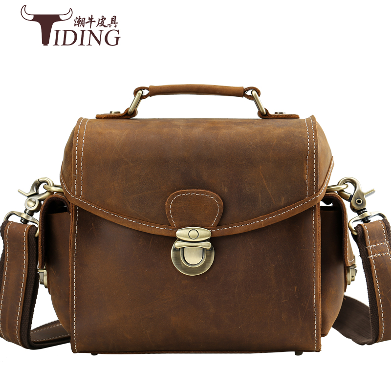 men shoulder bags cow leather 2017 new european business man vintage brown small hasp small real leather crossbody camera bags