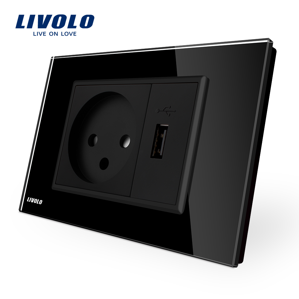 Livolo Power Socket with Usb Charger , Black  Crystal Glass Panel, AC 250V16A  Wall Power Socket , VL-C9C1IL1U-12 new south africa power plug and usb charger pop up desk socket network phone usb hdmi vga 3 5audio silver black 50pcs set