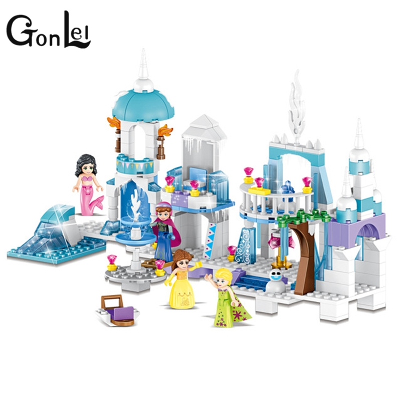 GonLeI 4 in 1 Princess Mermaid Elsa Anna Ice Castle Building Blocks Sets Kids toys Compatible legoings Friends 37024 for girl compatible with lego girl friends kids lele 37008 516pcs blocks anna and the princes castle building blocks toys for children