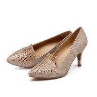 Mode vrouwen pompen elegante hoge hakken goud dames schoenen voor bruiloften zilveren hak schoenen vrouwen puntschoen pompen dames hakken