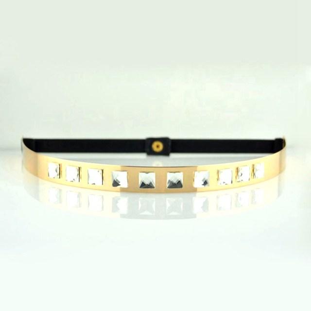 Nuevo 2015 flaco delgado negro elástico de la cintura del Metal del oro cinturones de mujer con los Rhinestones moda para mujer vestido cinturones Cintos Elastico