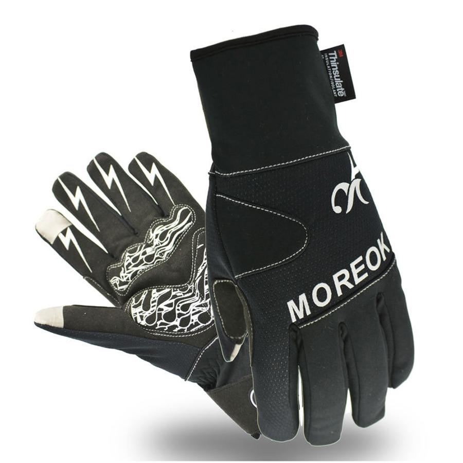Mens leather gloves rei - Moreok Winter Cycling Gloves Thermal Windproof Warm Fleece Bike Gloves Gel Pads Men Women Anti