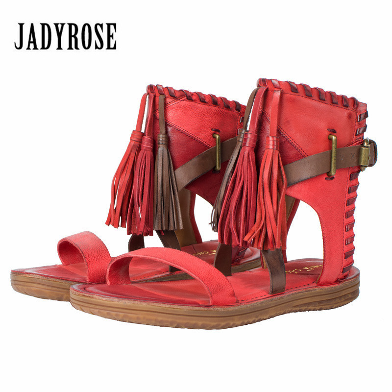 Jady Rose Red Women Genuine Leather Gladiator Sandals Fringed Flat Shoes Woman Casual Beach Flats Tassels Sandalias Mujer handmade rome gladiator sandals women flats fringed tie up woman sandals shoes fur cross strap pompom sandals sandalias mujer 94
