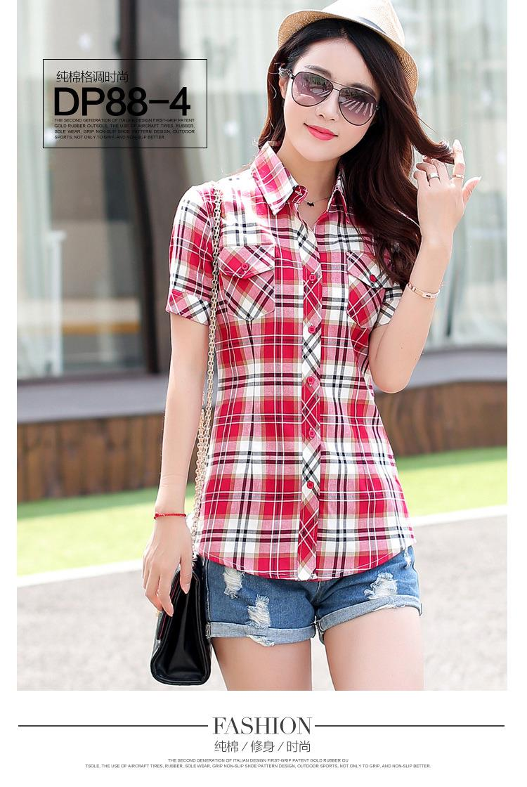 HTB1sgYPJFXXXXc8XFXXq6xXFXXX6 - New 2017 Summer Style Plaid Print Short Sleeve Shirts Women