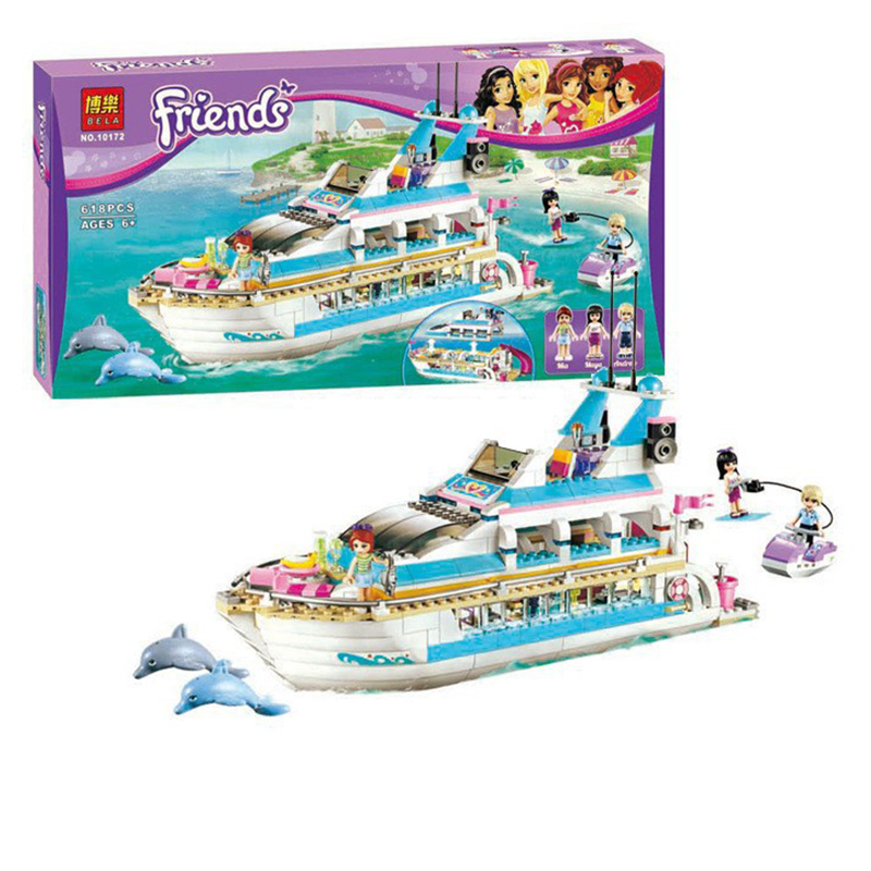 618Pcs Bela 10172 Friends Series Girls Large Yacht Club Cruise Ship Building Blocks Brick Compatible With Brinquedos 41015