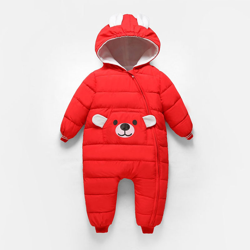Autumn -5 Degree Warm Rompers Overalls for Newborns Baby Cartoon Fashion Outerwear Girl Boy Hooded Jumpsuit Toddler Clothing New iyeal baby girl clothing spring 2017 bebe jeans overalls lace rompers infantil jumpsuit for toddler infant denim coveralls