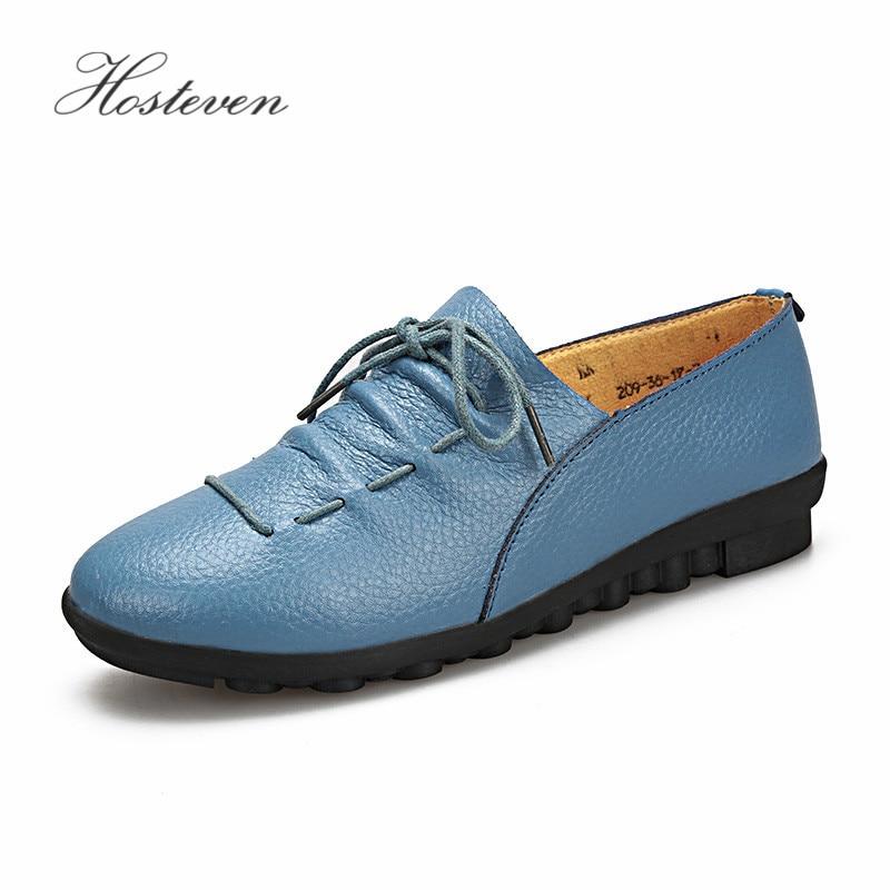 d37a14939 De Hosteven Femininos blue Calçados Das Black orange Flats Condução Macio  Casuais green white Mãe Mocassins Lazer Mulheres Sapatos Couro CXqwCv