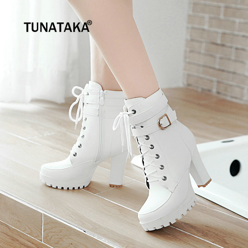 Fashion Shoes Platform Ankle-Boots Lace-Up Chunky Brown Fall High-Heels Black White Large-Size title=