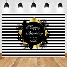 NeoBack 16th Birthday Party Photography Backdrops Black White Stripe Background Vinyl Custom Studio Shoots