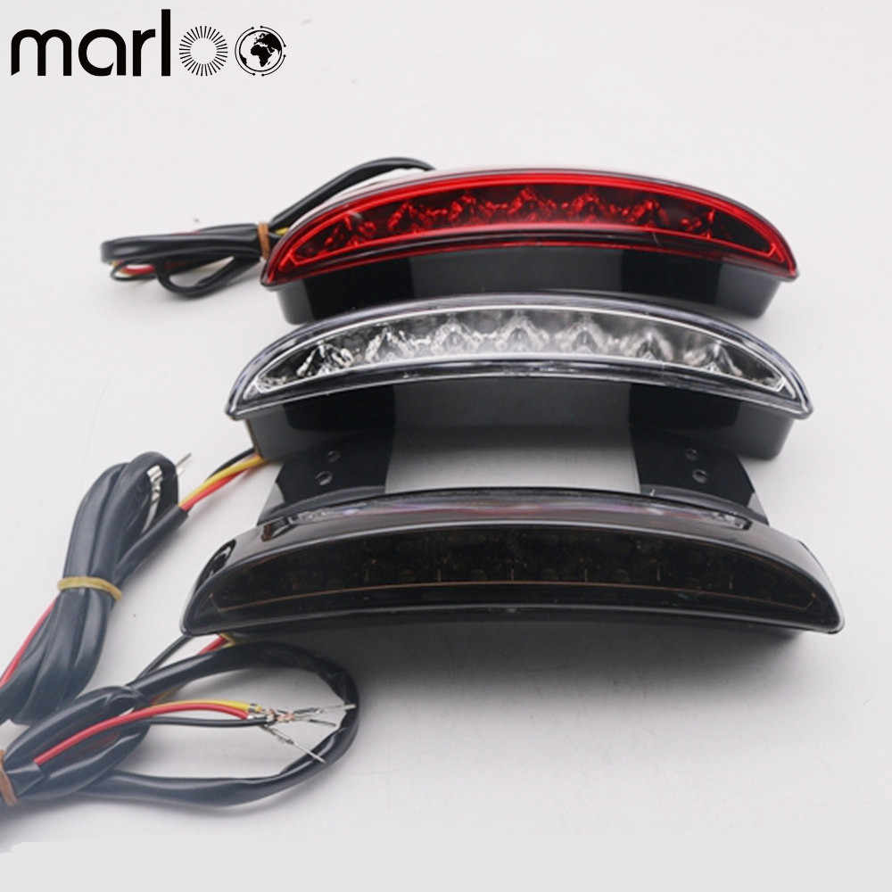 Marloo Motorcycle Chopped Rear Fender Edge Plate Tail Brake License LED light For Motorcycle XL883N 1200N XL1200V XL1200X