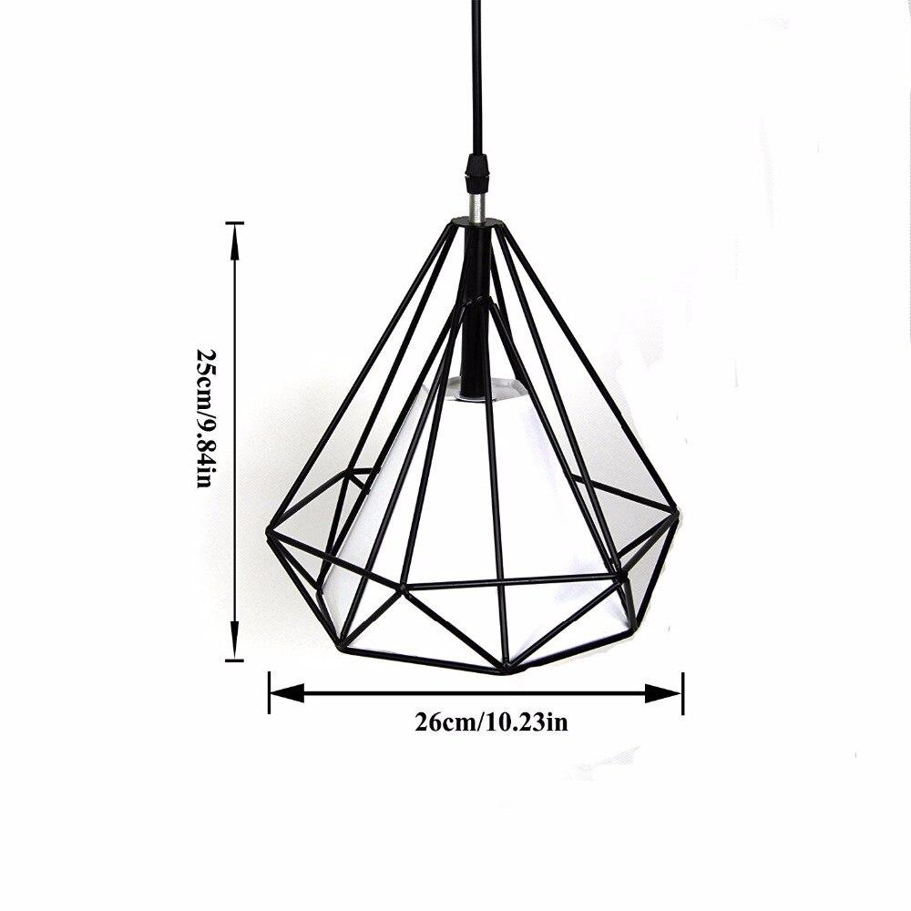 LAZG plafonniers moderne fer rétro lumière scandinave Loft pyramide lampe métal Cage diamètre 25 cm avec lot de 2 cordons