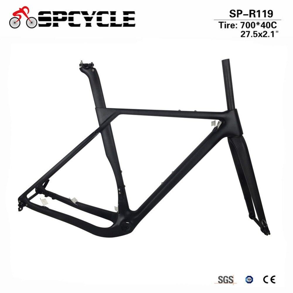 Spcycle 2018 Nouveau Modèle Carbone Route VTT Gravier Vélo Full Frame de Carbone Gravier Vélo Cadre Cyclocross Disque Vélo De Route de Cadres