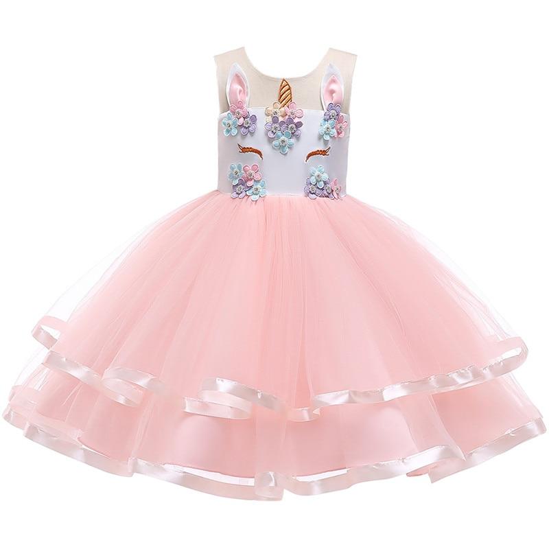 2019 girls dress girls Christmas party dress Unicorn flower girl princess dress new unicorn Colorful mesh girl flower dress in Dresses from Mother Kids