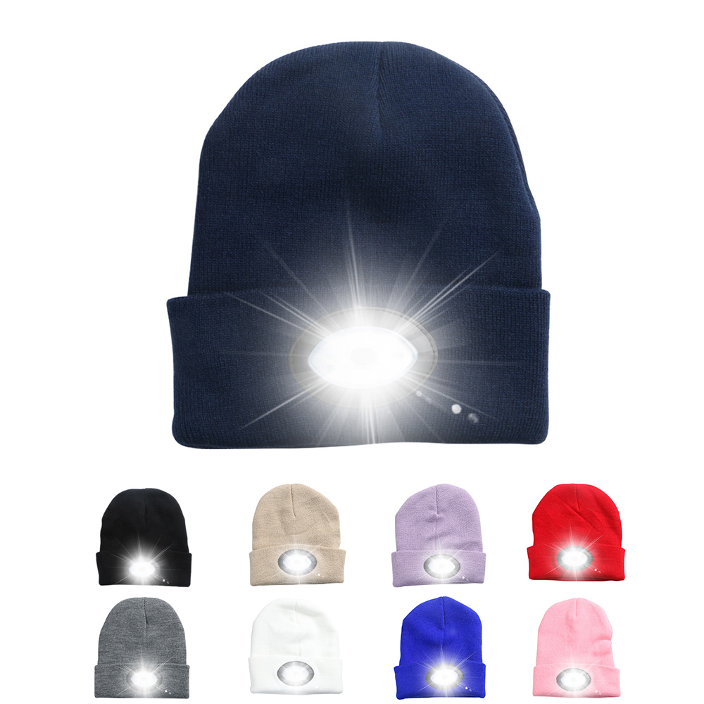 Powerful Led Headlamp 6LED Knitted Beanie Hat Rechargeable Light Hands Free Flashlight Cap For Climbing Fishing Camping Warm Hat