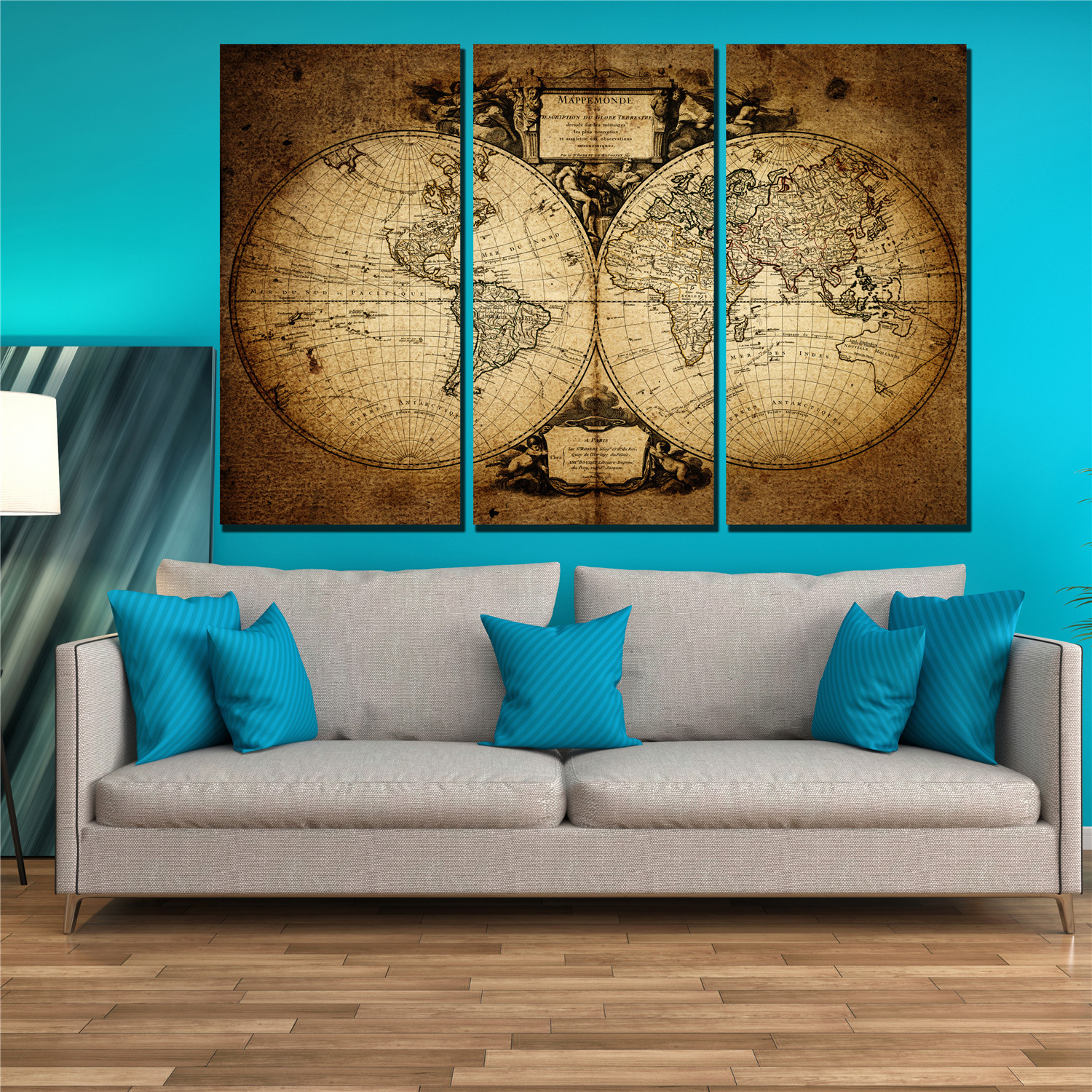 Aliexpress Com Buy Unframed 3 Panel Vintage World Map: 3 Panel Canvas Wall Art Canvas Print Vintage The World Map