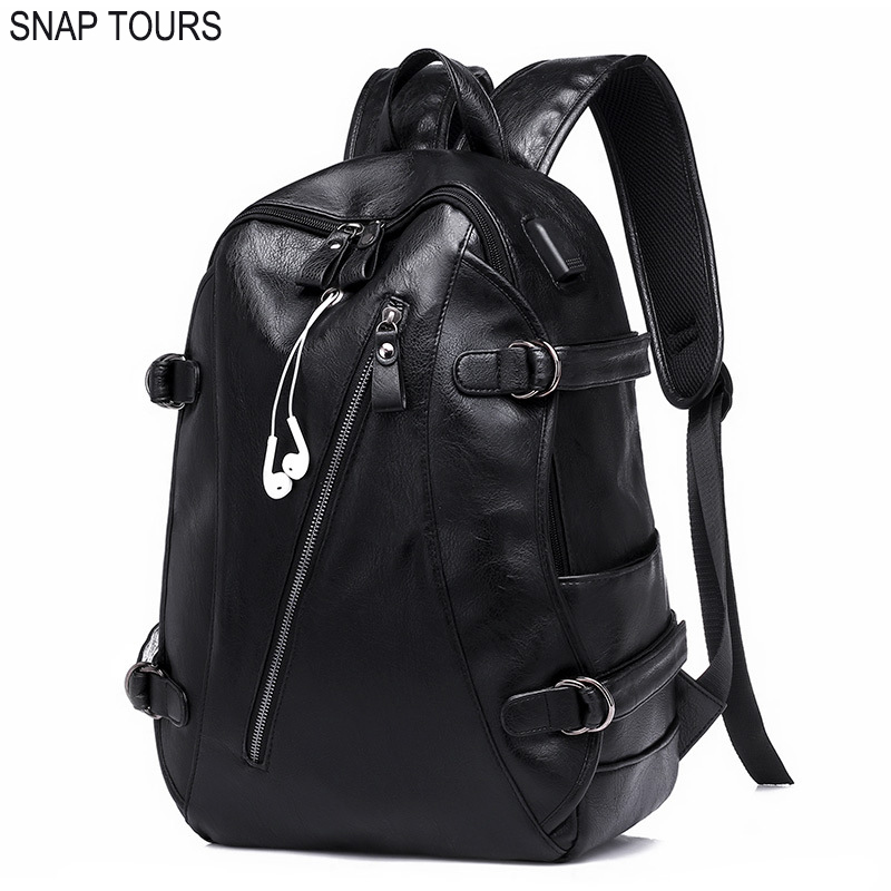 SNAP TOURS 2018 College A Laptop Backpack USB Fashionable Luxury Big Space Men Black Backpack Leather School Bags Male Back Pack