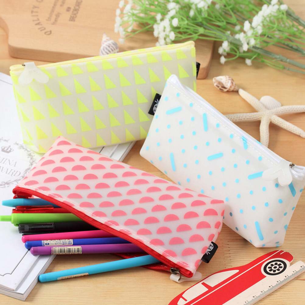 1Pcs Cute Candy Color Bow Jelly Silicone Waterproof Pencil Case torage Organizer Cosmetic Bag