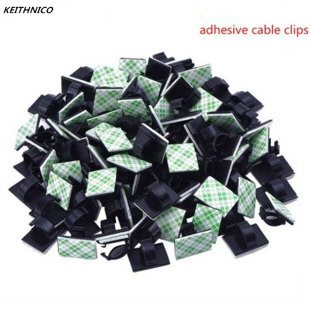 KEITHNICO 50pcs Adhesive Car Cable Clips Cable Winder Organizer Wire Management Drop Cord Clamp Tie Fixer Holder Desk Wall Home