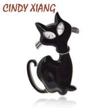 CINDY XIANG New 2017 Black Enamel Cat Brooches For Women Gothic Bijouterie Broches Cute Animal Elegant Jewelry