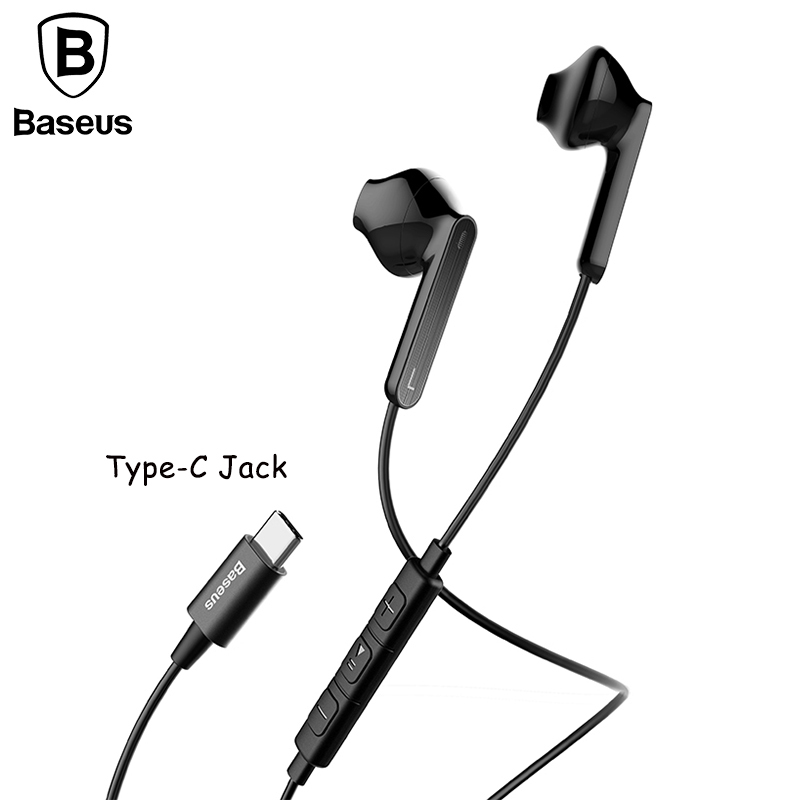 Baseus Type-C Earphone Wired Control Earbuds Digital in-ear Sport stereo earphone With Mic Earbuds Type-c jack mobile phone C16 usb type c metal hi fi stereo earphones wired control type c earbuds for huawei google moto z letv leeco le max 2 pro htc phone