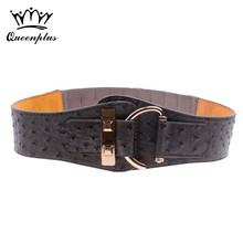 New Fashion Cowskin leather Wide belts for Women Hasp Elastic Patent Leather Female Belt  Girls girdle