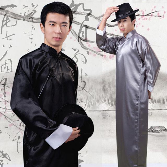 Chinese Folk Dance Hombres Túnica Chino Tradicional Ropa Ropa Traje del Profesor de Chino Antiguo Traje de Espiga Macho