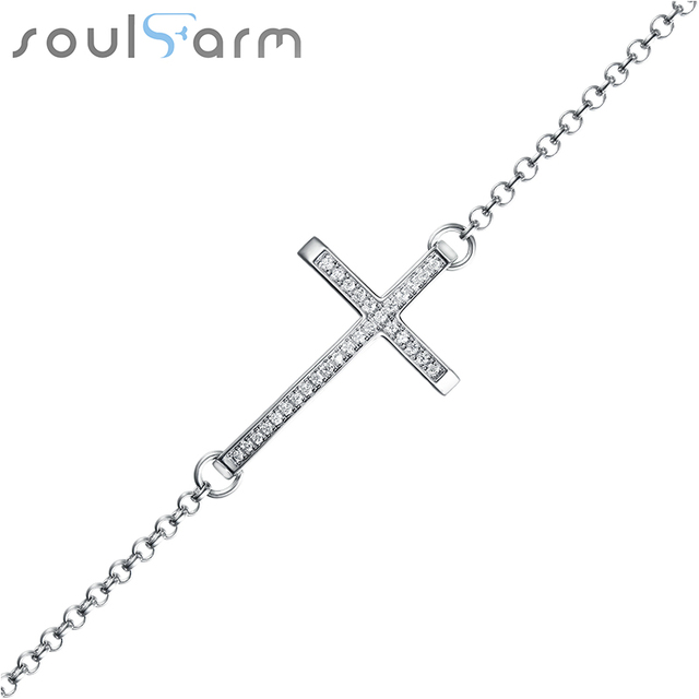 Luxury real 925 silver bracelet Cross white Cubic charm bracelet for woman wedding fine jewelry bracelets