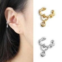 Zircon S925 Sterling Silver Ear Clip 1pc Trendy Crystal Water Drop Shape Pendant Cuff Earrings Jewelry For Women Girl
