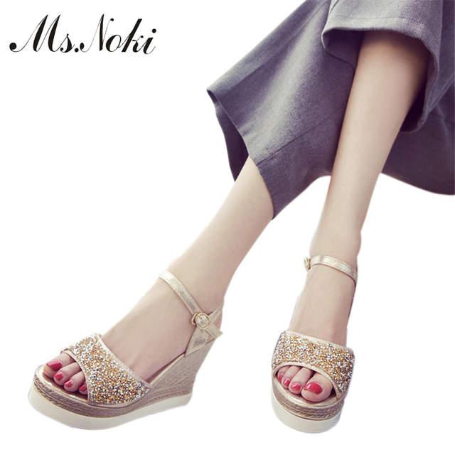 a15b15d6e Ms.Noki high heels sandals women shinning glitter silver gold platform  wedges 2018 summer ladies
