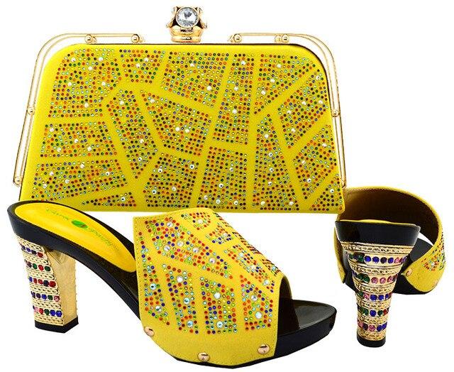 Zapatos italianos A Juego Con Conjunto de Bolsas Para La Boda de Alta Calidad de la Sandalia Zapatos De Las Mujeres Africanas Y Conjunto de Bolsas Para La Fiesta BCH-19