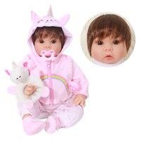 50cm Reborn Doll Baby 3/4 Silicone Vinyl Doll Lifelike Princess girl Babies For children paly house bebe reborn menina doll NPK